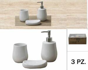 Set 3 Pezzi Accessori da bagno in Ceramica Portasapone e Portaspazzolini Bianco