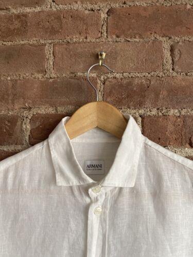 Giorgio Armani Collezioni Mens Shirt, Linen Sz Sma