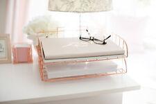 Blu Monaco Rose Gold Desk Organizer Stackable Paper Tray Set Of 2