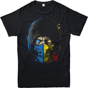 Mortal-Kombat-T-shirt-Subzero-Scorpion-Visage-moitie-frauduleux-Cadeau-Adultes-amp-Enfants-Tee-Top