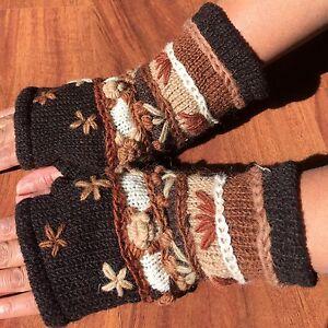 Hand-Knitted-Gloves-Thick-Lined-Warm-Winter-Fingerless-Brown-Woollen-Mittens