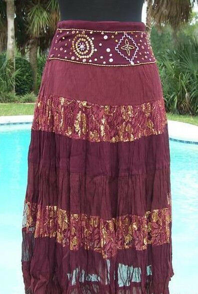 Cache Sequin Lace Evening Day Skirt Boho Hippie New 2 4 6 8 10 XS S M  128 NWT