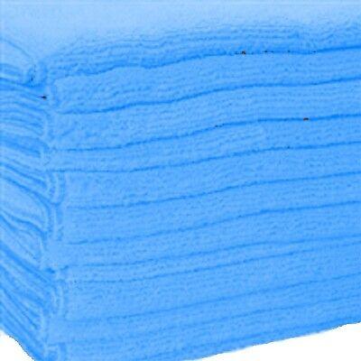 12 BLUE MICROFIBER TOWELS NEW CLEANING CLOTHS BULK 16X16 330 GSM!! THICK & PLUSH