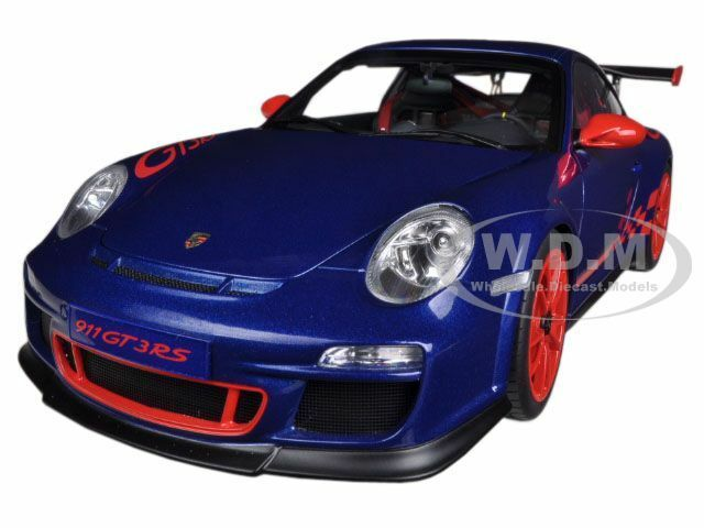 PORSCHE 911 997  GT3 RS 3.8 blu WITH rosso STRIPES 1/18 AUTOART 78144