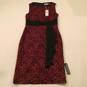 M-amp-S-Per-Una-red-and-black-pencil-wiggle-formal-party-dress-UK-8-RRP-49-50
