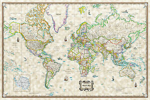 Antique World Wall Map Poster Old World Style Modern Info 36x24