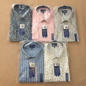 Mens-Long-Sleeve-Dress-Shirt-XL-34-35-Slim-Fit-Flex-Stretch-Button-Up-New-45