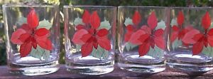 SET-OF-4-BLOCK-POINSETTIA-Double-Old-Fashioned-Whiskey-Glasses-8-OUNCE