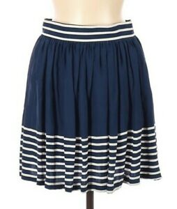 Amanda Uprichard 100% Silk Blue Striped Mini Skirt Size Medium