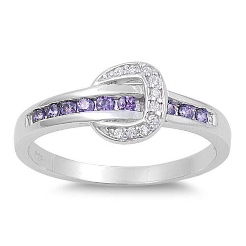 .925 Sterling Silver Horseshoe Fashion Ring Amethyst Clear CZ Sz 5 6 7 8 9 10