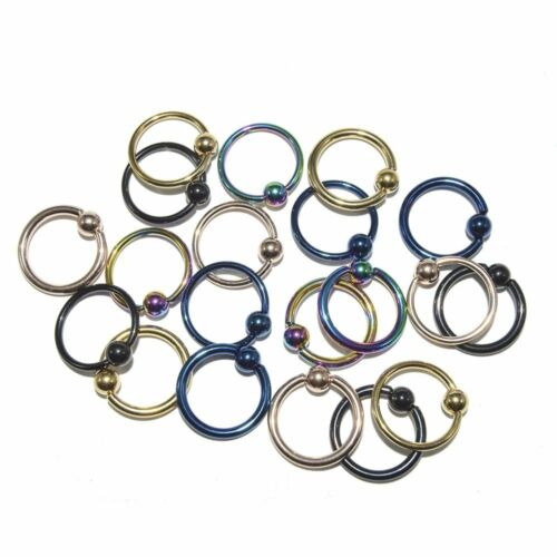 Captive Bead Ring Body Jewelry 20pc Anodized Titanium 14g and 16g
