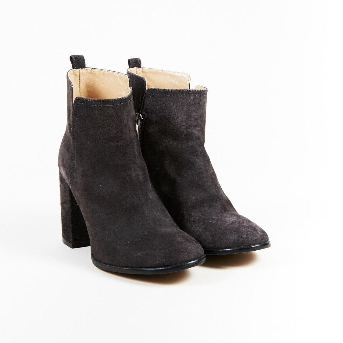 Pura Lopez  Gray Suede Zipped Block Heel Platform Ankle Stiefel SZ 39