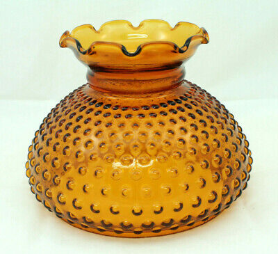 """Vintage Amber Glass Hobnail Hurricane Lamp Shade with Ruffle Top for 7"""" fitter"""