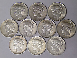 Lot-of-10-1922-Peace-Silver-Dollars-Circulated-XF-and-XF-AU
