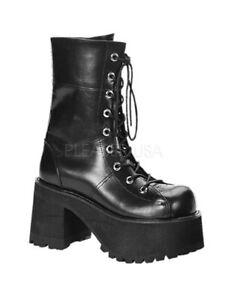 PLEASER-Demonia-Ranger-301-3-3-4-034-Heel-2-1-4-034-Platform-Goth-Punk-Gogo-Calf-Boot