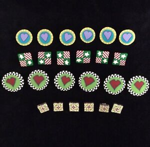 Lot-Polymer-Clay-Buttons-x24-Hearts-Stars-Stripes-Christmas-Holly-Whimsical