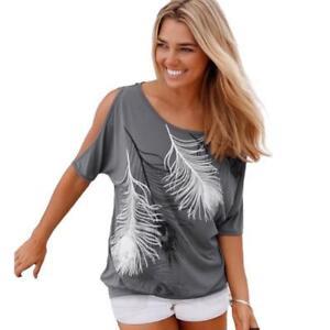 287b9dc6eb140 Summer Shirt Girl Tee Loose Tops T-Shirts Slit Sleeve Cold Shoulder ...