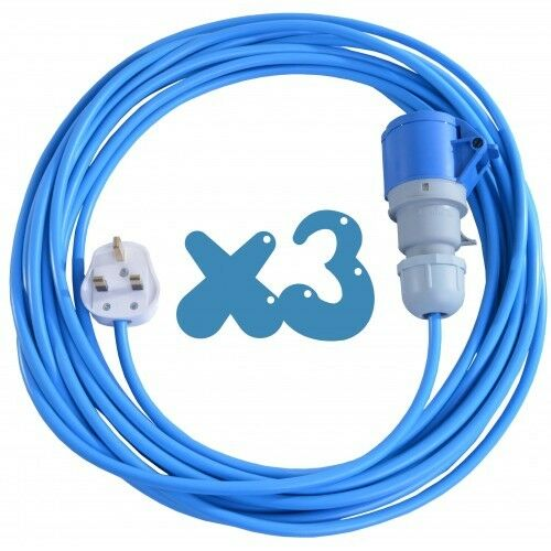 3x 25m Extension Leads For Bouncy Castle Blowers 13 AMP to 16 AMP 16A Cable