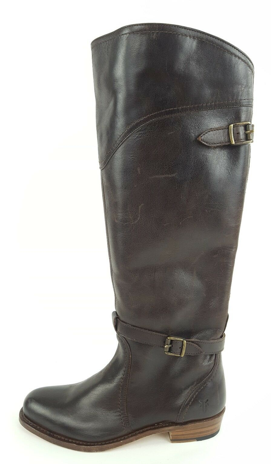 Size 7 M Frye 'Dorado' Women's Riding Boots Dark Brown Polished Leather