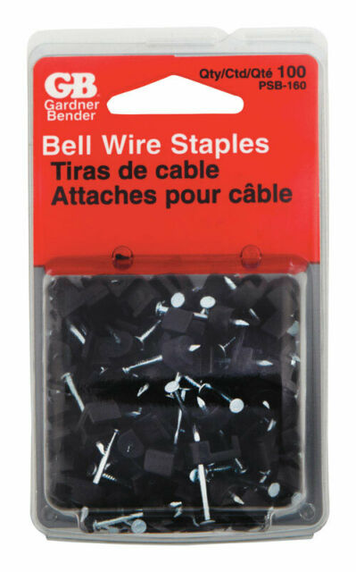 100-Pack Gardner Bender PSB-160 3//16-Inch Black Low Voltage Plastic Staples