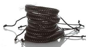 5 Black Braided Punk Rock Unisex Fashion Leather Bracelet Bangle Wristband Style