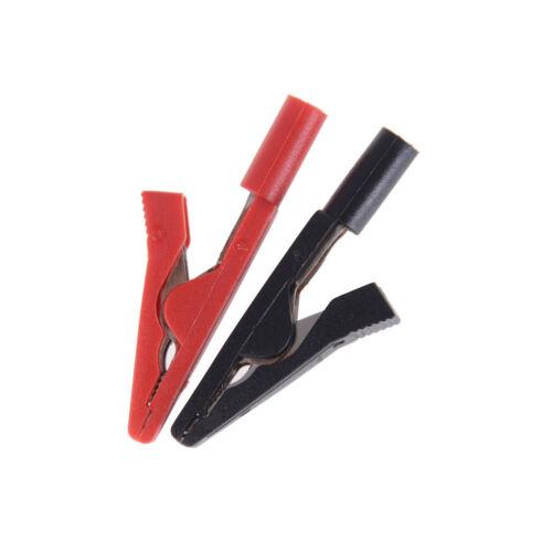 rouge 2PCS isolé crocodile clamp 2mm adaptateur banane fiche test noir