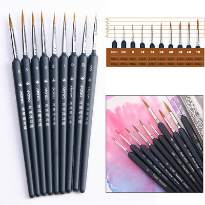 6X Hook Line Pens Detail Paint Brush Oil Watercolor Draw Painting Brush Applied