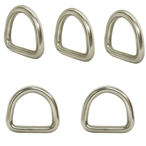 5 Pc 5//16/'/' 40MM Marine Boat Stainless Steel D Ring Welded Formed D-Ring