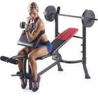 Weider Pro 265 Standard Bench With 80 Lb Vinyl Weight Set
