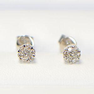 NEU-Diamant-Ohrstecker-0-28-ct-in-750er-Weissgold-18K-Pave-Brillant-Ohrringe