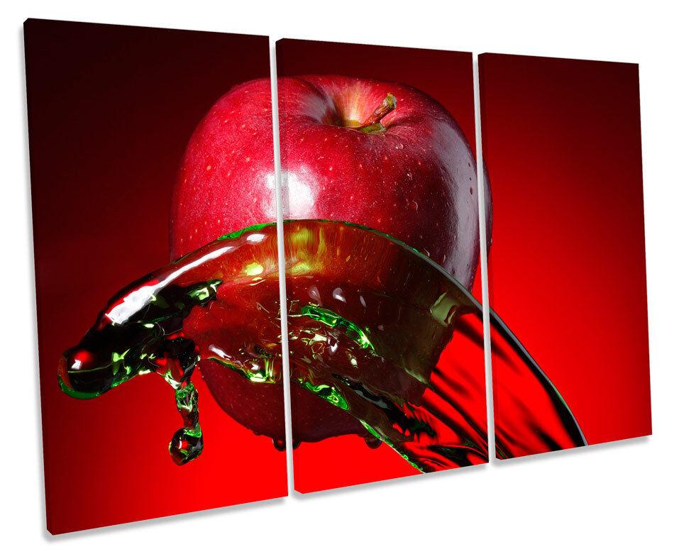 Apple Fruit Kitchen Splash TREBLE CANVAS WALL ART Box Framed Print