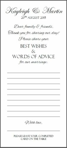Wedding Advice Best Wishes Words of Wisdom Favour Cards Favor Thank You
