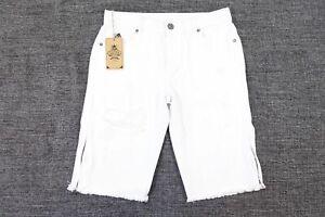 Dnm-Collection-Dechire-Coupe-Genou-Fermeture-Blanc-32-Slim-Jeans-Short-Defaut