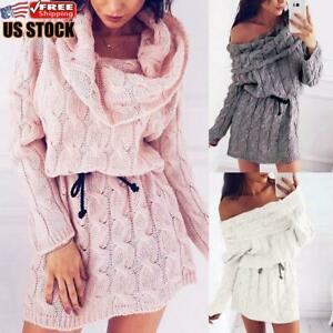 Women-039-s-Off-Shoulder-Sweater-Mini-Dress-Ladies-Long-Sleeve-Knitted-Short-Dresses