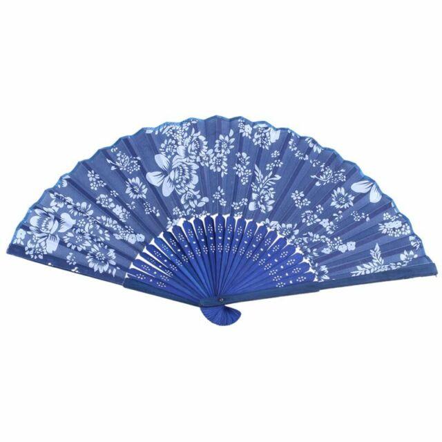 5X(dark Blue Bamboo Frame Rose Pattern Foldable Hand Fan for Women Q5A6