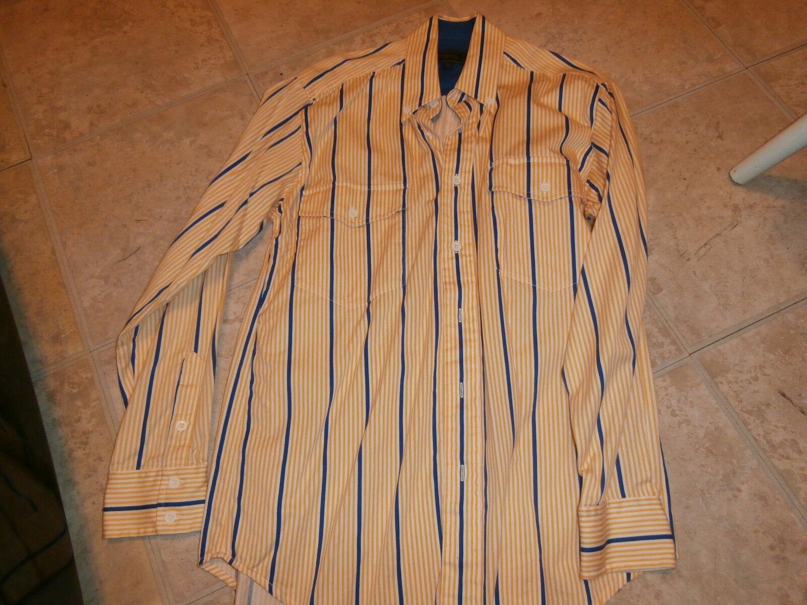 Roper Mens YELLOW-WHITE-blueE SZ SMALL Western Rodeo Show Dress Shirt