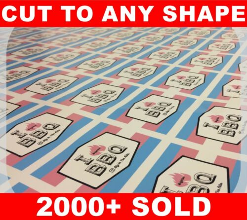 Custom labels sticker printing your design vinyl contour cut any shape business 1300mm x 150mm