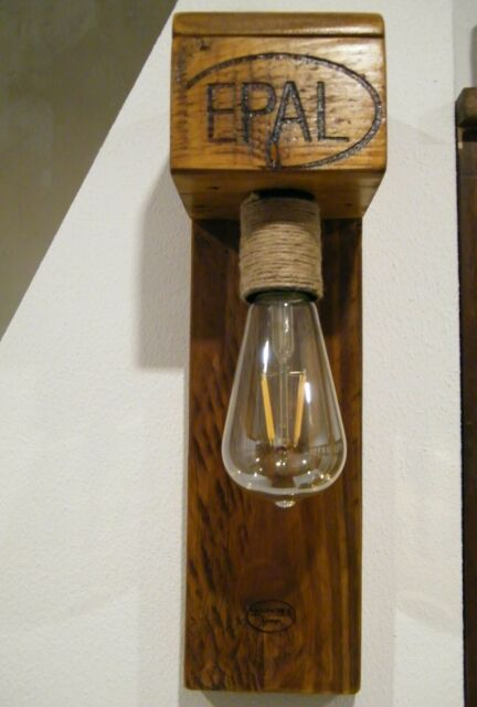 Wandlampe LED Wandlampen Palettenmöbel Shabby Chic Vintage Holz Upcycling
