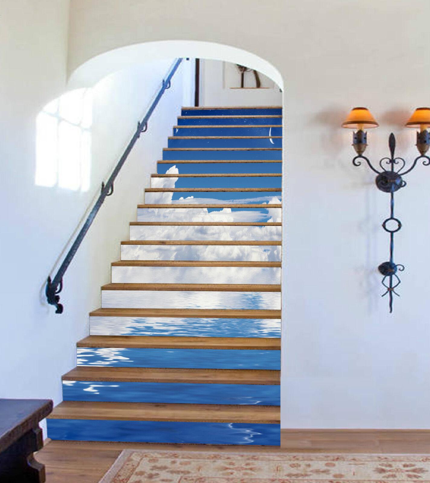 3D Meer Wolke 074 Stair Risers Dekoration Fototapete Vinyl Aufkleber Tapete DE