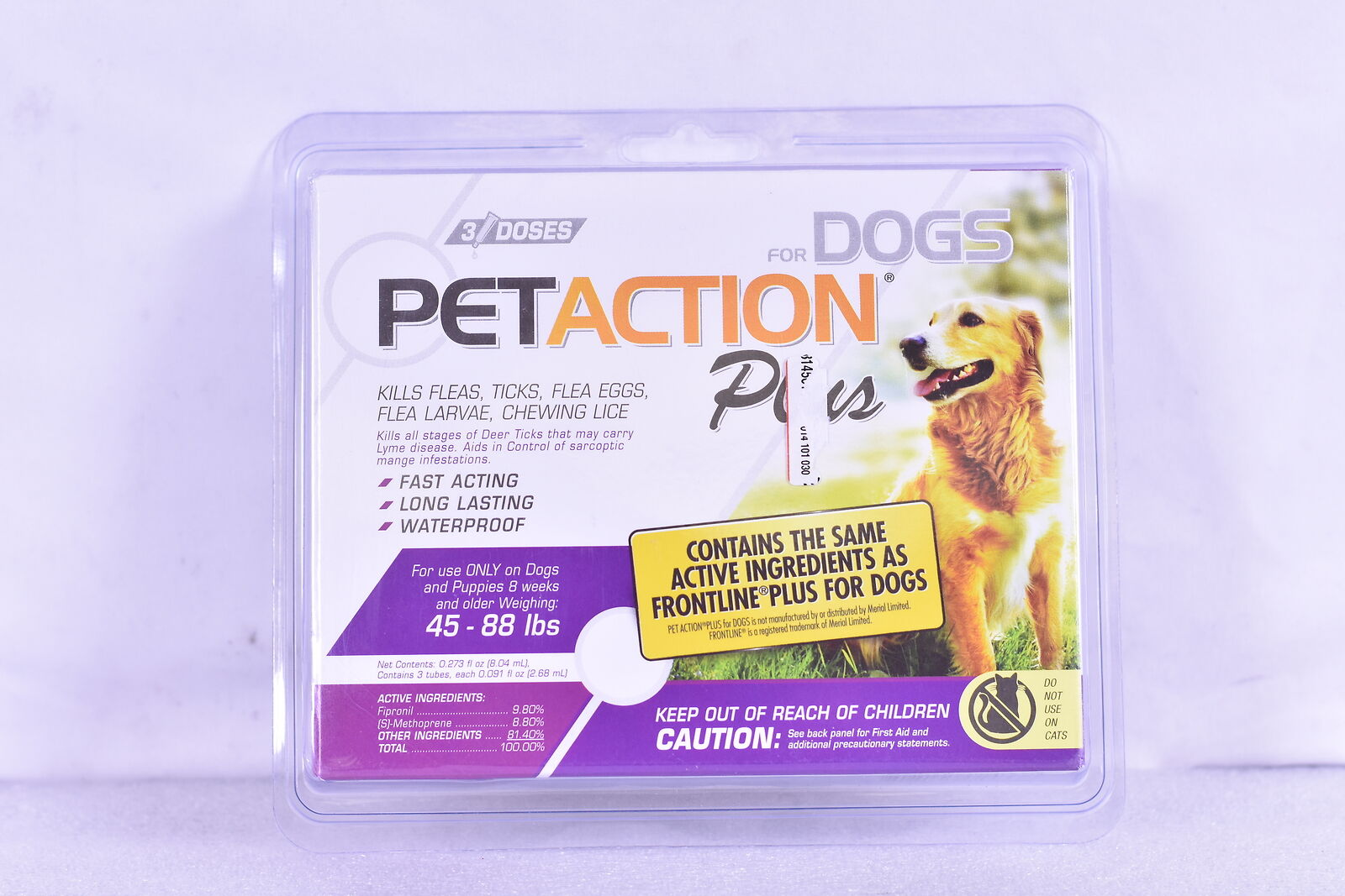 6 Doses Large Dogs 45-88 Lbs. Pet Action Plus for Dogs