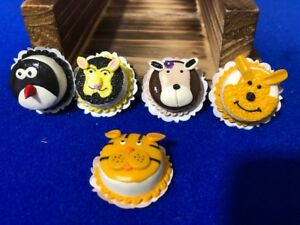 Handmade-Miniature-Dollhouse-Cartoon-Animal-Cakes-Clay-5-pcs-K