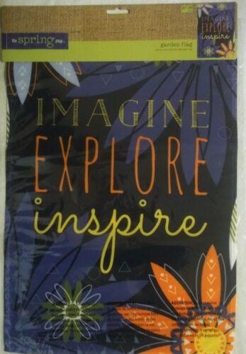 "NEW SPRING SHOP /""IMAGINE EXPLORE INSPIRE/"" SPRING//SUMMER GARDEN FLAG 12.5x18/"""
