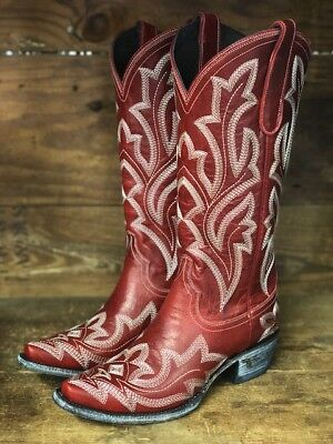d9349835fb4 Lane Boots Women's Saratoga Red Leather Snip Toe Western Boots LB0389C |  eBay