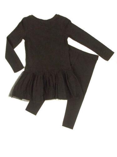 Per bambina Next IMPREZIOSITO Corpetto Rete Overlay Nero Abito /& Legging Set Età 4 vendita