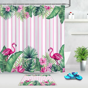 Pink Flamingo On White Bathroom Waterproof Fabric Shower Curtain Liner 12 Hooks
