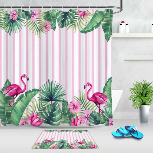 Tropical Flowers Leaves Flamingo Fabric Shower Curtain Set Bathroom Decor Hooks