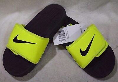 28624cbf76d5f Nike Boy s Kawa Adjust (GS PS) Volt Black Slide Sandals - Assorted
