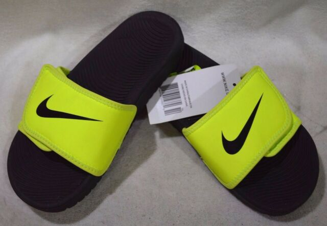 uk availability 91db0 c4de4 Nike Boy s Kawa Adjust (GS PS) Volt Black Slide Sandals - Assorted