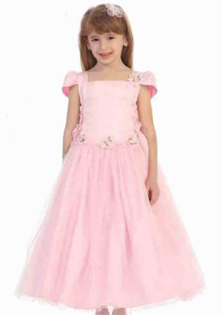 Chic Baby Blush Pink Tea Length Pageant Party Holiday Dress, 2, 4, 6 USA