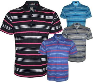 Men-s-Striped-T-Shirts-Loose-Fit-Pique-Polo-PolyCotton-1906-Casual-Tops-M-to-5XL